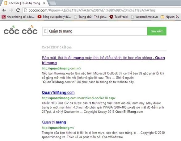 Cốc Cốc trang web tìm kiếm Việt Nam xuất hiện