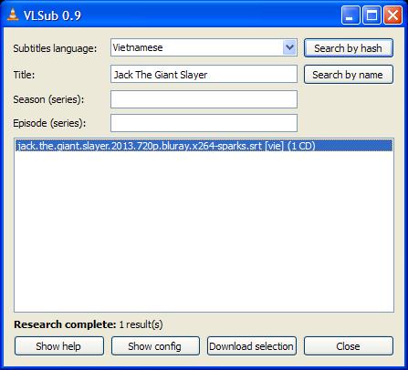 Tìm kiếm phụ đề cho phim trên VLC