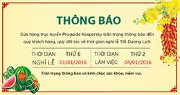 Thông báo nghỉ Tết Dương lịch 2016