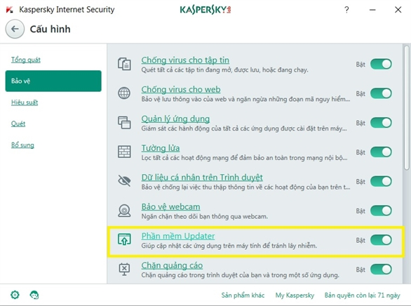 Kaspersky Internet Security 2017 -> Cấu hình  -> Bảo vệ  -> Phần mềm Updater   - bản quyền key kaspersky proguide