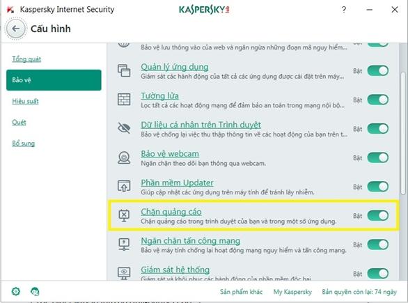 Mở tính năng Chặn quảng cáo ngay trên trình duyệt web với Kaspersky Internet Security 2017 - bản quyền key Kaspersky Proguide