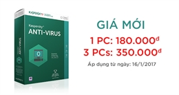 Thông báo giá bán mới của sản phẩm phần mềm bảo mật Kaspersky Anti-Virus (KAV)