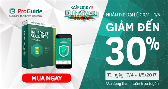 Giảm ngay 30% khi mua Kaspersky Internet Security for Android tại Kaspersky Proguide