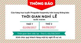Thông báo nghỉ lễ Quốc Khánh 2/9/2017