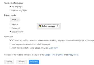 Cách nhúng Google Dịch vào website
