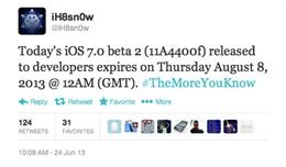 iOS 7 beta buộc nâng cấp phiên bản mới