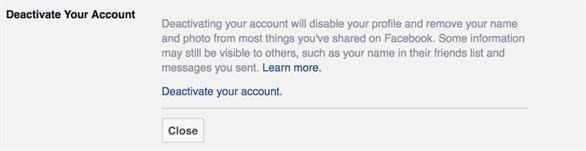 Tính năng Deactivate Your Account (Vô hiệu hóa tài khoản) của Facebook