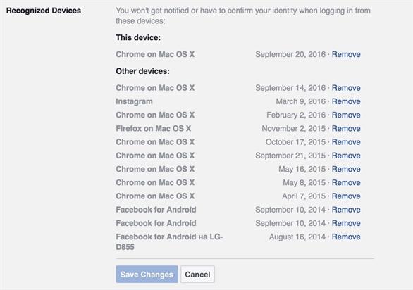 Tính năng Recognized Devices (Thiết bị đã nhận ra) của Facebook