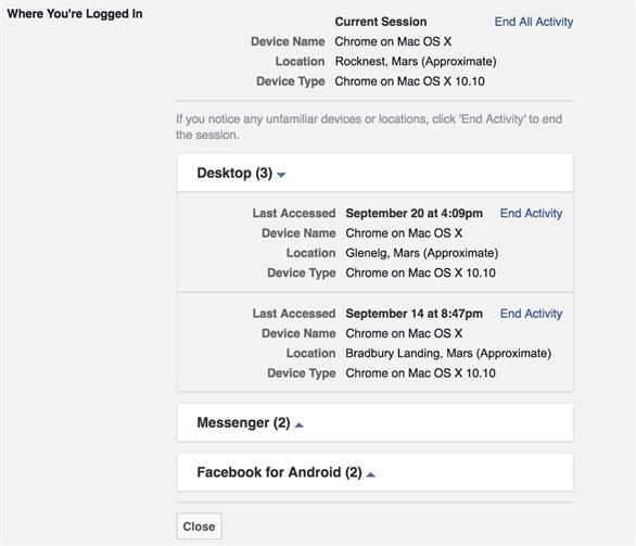 Tính năng Where You're Logged In (Địa điểm bạn đăng nhập) của Facebook