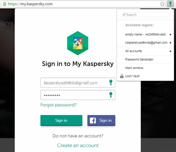Kaspersky Password Manager sẽ kết nối với các trình duyệt và thêm vào một tiện ích để đăng nhập tự động tên đăng nhập và mật khẩu