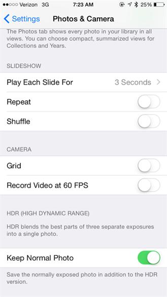 Ngừng tính năng lưu ảnh đúp với HDR