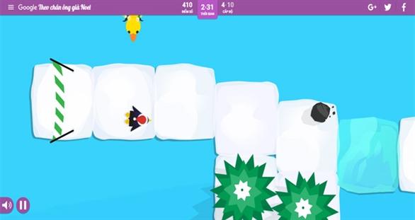 Chim cánh cụt trượt băng trên Santa Tracker