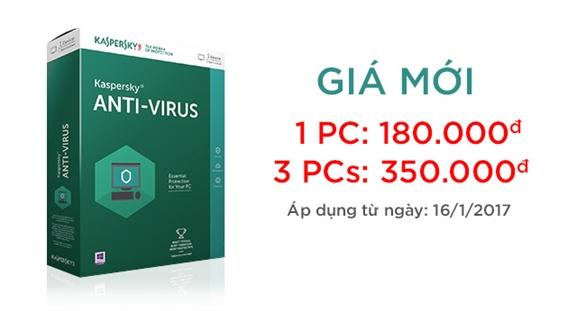 Thông báo giá bán mới của sản phẩm phần mềm bảo mật Kaspersky Anti-virus (KAV) - bản quyền key Kaspersky Proguide