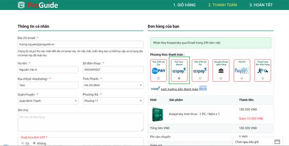 Hướng dẫn mua key Kaspersky online thanh toán qua thẻ Visa/Master tại Kaspersky Proguide