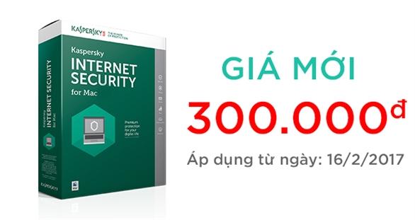 Thông báo giá bán mới của sản phẩm phần mềm bảo mật Kaspersky Internet Security for Mac