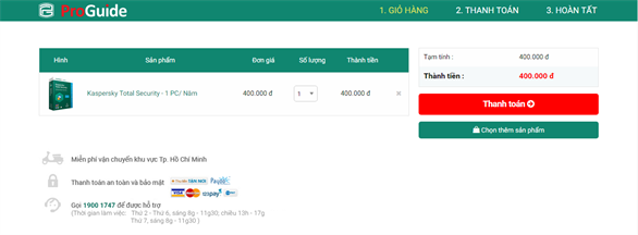 Hướng dẫn thanh toán qua Payoo khi mua hàng trên Kaspersky Proguide