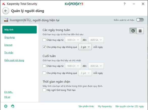 Cách quản lý người dùng trên máy tính với Kaspersky Total Security 2017