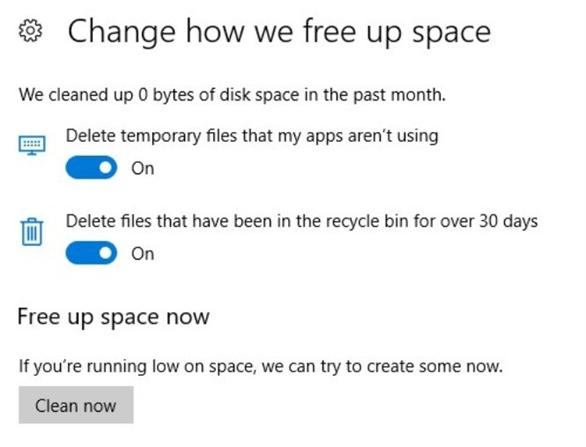 Windows 10 có thể tự động dọn dẹp các tập tin rác trong hệ thống