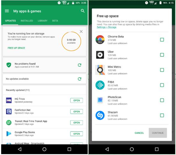 Cửa hàng Google Play Store sẽ tích hợp tính năng dọn bộ nhớ thông minh hơn. Giúp người dùng dễ dàng quản lý ứng dụng cũng như cài đặt các ứng dụng mới trên điện thoại thông minh của mình.