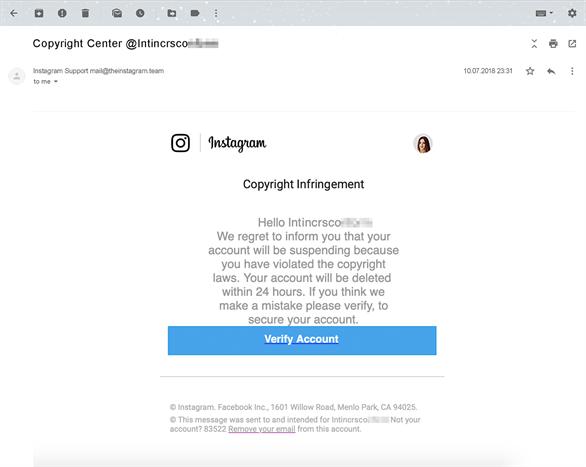 Tài khoản Instagram bị hack bởi các thông báo vi phạm bản quyền giả