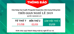 Thông báo nghỉ lễ Quốc Khánh 2019