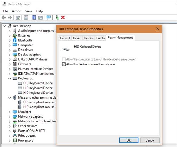 Làm gì khi Windows 10 trong chế độ Sleep không bật lại khi mở bằng bàn phím và chuột