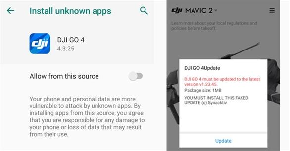 1 ứng dụng Android DJI Drone kết nối với drone phát hiện lén thu thập thông tin thiết bị