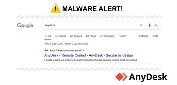 Chiến dịch quảng cáo độc hại lây lan qua trình cài đặt AnyDesk được lây lan trên Google