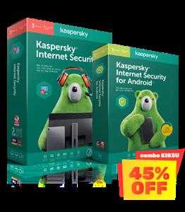 COMBO GIẢM 40% 01 KASPERSKY INTERNET SECURITY 3PCs + 03 KASPERSKY INTERNET SECURITY FOR ANDROID