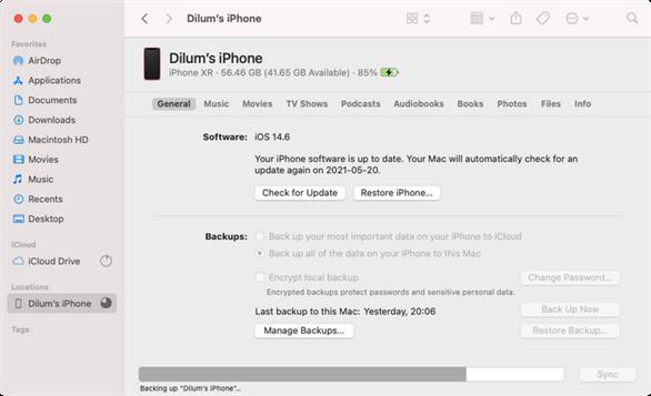Cách sao lưu (back up) dữ liệu trên iPhone sang máy Mac