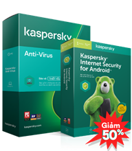 COMBO GIẢM 50% 01 KASPERSKY ANTI-VIRUS  3PCs + 02 KASPERSKY INTERNET SECURITY FOR ANDROID