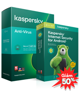 COMBO GIẢM 50% 01 KASPERSKY ANTI-VIRUS + 01 KASPERSKY INTERNET SECURITY FOR ANDROID