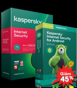 COMBO GIẢM 45% 01 KASPERSKY INTERNET SECURITY 3PCs + 03 KASPERSKY INTERNET SECURITY FOR ANDROID