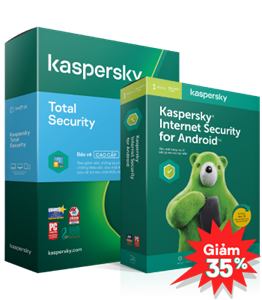 COMBO GIẢM 35% 01 KASPERSKY TOTAL SECURITY + 01 KASPERSKY INTERNET SECURITY FOR ANDROID